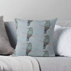 is an independent artist creating amazing designs for great products such as t-shirts, stickers, posters, and phone cases. Black And White Birds, Black And White Painting, White Art, Lilac Breasted Roller, Bee Eater, Bird Watching, Interior Decorating, Throw Pillows, Shop