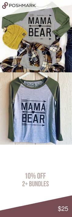 """Mama Bear 🐻Longsleeve Super cute shirt for the Mama Bears among us! True to size. Length: 23"""" Bust: 35"""" Fast shipping! Bundle and save! Tops Tees - Long Sleeve"""