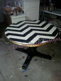 Chevron hand painted dining table blk wht gold for high chair