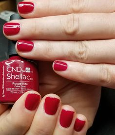 CND Shellac in Rough Rite Many women prefer to attend the hairdresser even though they … Cdn Shellac Colors, Red Shellac Nails, Christmas Shellac Nails, Red Nail Varnish, Maroon Nails, Burgundy Nails, Orange Nails, Green Nails, Nail Polish Style