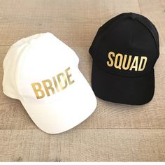 Bride squad Golden letter Print baseball Caps Material 100% high quality cotton Color:White,black, Size: 56-60Fits Adult Women Print: Golden bride ...