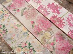 Napkins decoupaged on wood. This would be beautiful on an old fence panel or on a wood floor! ~ by Sweet Pickins