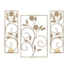White Floral Metal Sconces, Set of 3 | Kirklands