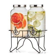 [New] The 10 Best Home Decor (with Pictures) - Dual drink dispenser Exc postage each Includes stand Soda lime glass and iron Dispenser: (Dia.) Base: x Colour: Clear Hand wash only Warning: Not suitable for carbonated drinks or hot liquids # Whiskey Drinks, Wine Drinks, Beverages, Cold Drinks, Drink Coolers, Juice Dispenser, Beverage Dispenser, Kitchen Jars, Kitchen Decor