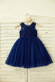 Princessly.com-K1000129-Navy Blue Lace Tulle Flower Girl Dress-20