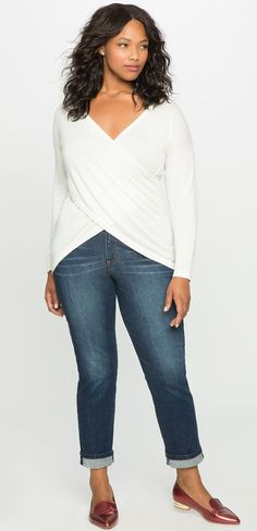 Plus Size Cross Front Sweater