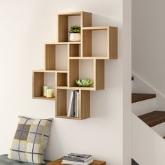 Hashtag Home Würfelregal Cube Wall Shelf, Unique Wall Shelves, Wall Cubes, Cube Shelves, Wall Shelves Design, Hanging Shelves, Display Shelves, Floating Shelves, Cube Bookcase