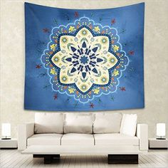 Henna Tapestry Soft Toned Mandala Asian Print Wall Hanging Decor