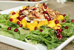 Grilled Chicken Mango Salad -- Sub 1 tablespoon balsamic vinegar for the red wine in the marinade, and use 4 cups total mango chunks and pomegranate seeds to serve 4 for Phase 1 (omit oil) and H-Burn.