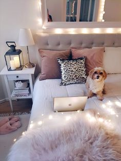 Teen Girl Bedrooms - From cool to super dreamy teen room decor help. Note - set in diy teen girl room fairy lights tag , example note pinned on 20190211 Cozy Bedroom, Bedroom Inspo, Bedroom Sets, Home Decor Bedroom, Bedroom Furniture, Modern Bedroom, Modern Teen Bedrooms, Teen Bedroom Makeover, Grey Bedrooms