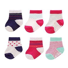 CARTER'S Girls' CREW SOCKS (6 Pack), WHITE/PINK/NAVY, 3-12 MONTHS (3-12M) - Blue - Aqua - Gray / Grey - Dots - Stripes - Non Slip - Style #GB12805. AVAILABLE WHILE SUPPLIES LAST!  https://www.amazon.com/dp/B01LQ6A8IU/ref=cm_sw_r_pi_dp_x_9nvXyb6ZCA7VG