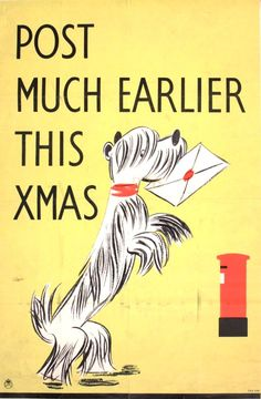 1942 UK poster - reminding civilians that the post was under great wartime strain and that extra time would be needed for holiday delivery.