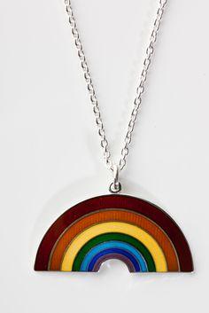 Enamel rainbow necklace by Camilla Prytz Camilla, Enamel, Rainbow, Pendant Necklace, Jewelry, Rain Bow, Vitreous Enamel, Rainbows, Jewlery
