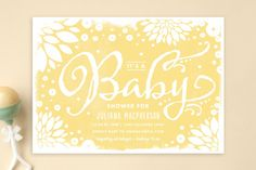 Floral Canvas Baby Shower Invitations by Rebecca Bowen at minted.com