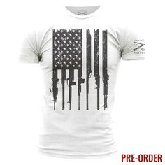 Celebrate the 2nd Amendment of the United States Constitution. The right of the people to keep and bear arms shall not be infringed! Grunt Style's Men's Rifle Flag is an ultra-comfortable and soft men's white 100% cotton t-shirt. PRE-ORDER ITEM ALL ORDERS CONTAINING THIS ITEM WILL NOT START SHIPPING UNTIL 6/6