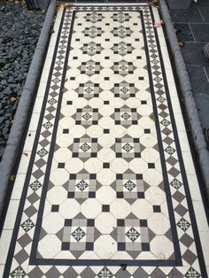 Victorian Mosaic Path/Floor Tiles Black/White/Grey/Flower Design 35/50mm Oct/Tri | eBay