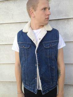 www.etsy.com/shop/elseevintage    Vintage Denim Vest    Roebucks – Western Wear Denim Men's Vest    Tag Size: 40 – T    Fits Men's Medium    Great VintageCondition