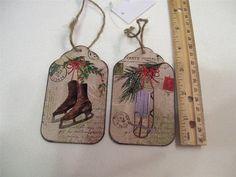2 Large 4 034 Vintage Snow Sled Ice Skates Post Card Chalk Board Christmas Tags | eBay