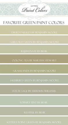 Green Paint Color Ideas. Benjamin Moore Dried Parsley.  Benjamin Moore Guilford Green.  Behr Rejuvenate. Martha Stewart Oolong Tea. Martha Stewart Grasslands.  Benjamin Moore Salisbury Green. Sherwin Williams Svelte Sage. Behr Topiary Tint. Behr Restful. Benjamin Moore Kittery Point Green. #GreenPaintColor