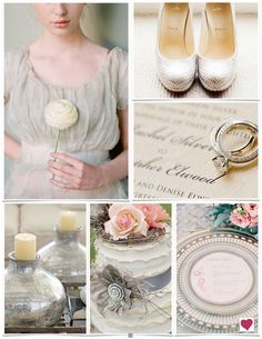 Rustic Vintage Grey & Peach Wedding Inspiration Board