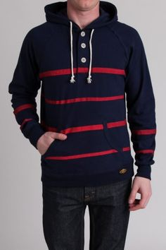 Navy and red stripe pullover