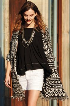 Anthropologie Fringed Jacquard Cardigan Never worn, don't hesitate to make an offer! Anthropologie Clothing, Fringe Sweater, Classy And Fabulous, Sweater Outfits, Spring Summer Fashion, Spring 2014, Spring Style, Casual Chic, Smart Casual