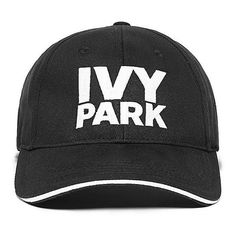 IVY PARK Baseball Cap ($20) ❤ liked on Polyvore featuring accessories, hats, caps, black, ivy park, sun visor, embroidered caps, visor hats, embroidery hats and baseball cap hats