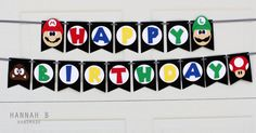 Super Mario Birthday Banner by HannahbHandmade on Etsy