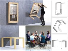 Similar like a murphy bed Picture Table is a high quality folding table. Picture frame folding table can be individualized with photos, paintings or posters Folding Furniture, Smart Furniture, Space Saving Furniture, Furniture Design, Office Furniture, Picture Frame Table, Picture Frames, Fold Down Table, Convertible Furniture