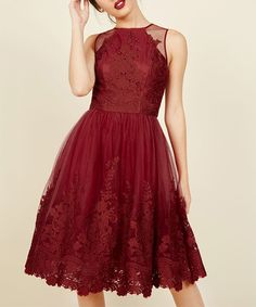 Another great find on #zulily! Red Floral Lace Radiant Reunion Fit & Flare Dress - Plus by ModCloth #zulilyfinds