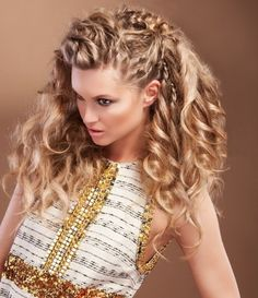 Bohemian half up half down hairstyle Everyday side swept braid.