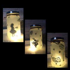 Night light, mood lighting, Alice in Wonderland Theme, Fairy Jar, Glitter Jar, Christmas, light up jars, mason jars