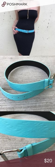 """Tiffany blue BELT waist hip M/L vegan leather Mint condition! This color is to die for...Tiffany blue belt! Gorgeous color with a subtle embossed southwest design on the length of it. Tip to tip measures 41"""". Smallest hole is 33"""", biggest hole is 37"""". Silver tone buckle.  VEgan leather. Fantastic color that goes with so much..! white jeans, red blouse, black dress, Boho skirts, etc...! J2 Chico's Accessories Belts"""