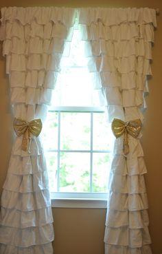 Raelynn's room--Ruffle Curtains, Nursery, Gold Tie-Backs