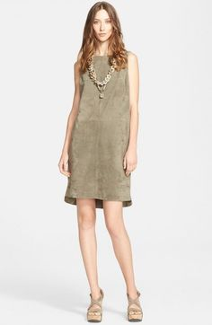 Fabiana Filippi Women's Metallic Knit Back Suede Dress | Clothing
