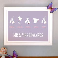 What a fantastic wedding gift! Quintet love story personalised print - from hardtofind.