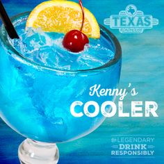 Inspired by Kenny Chesney's island lifestyle! Blue Chair Bay® Coconut Rum and DeKuyper® Peach Schnapps mixed with Minute Maid® Lemonade, our signature sweet and sour, and Monin® Blue Curacao.