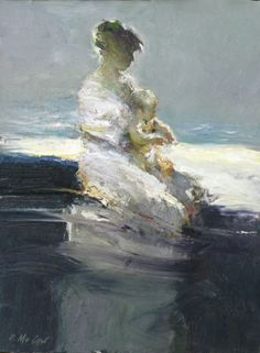 "Do you have any special memories? ""First Dip"" by Dan McCaw - Morris & Whiteside Galleries #art #fineart #painting"