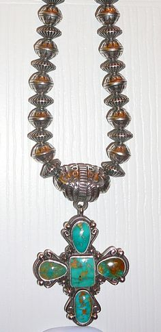 Rare gem quality Blue Gem Turquoise cross w/ 12mm stamped and corrugated Navajo sterling necklace