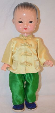 "Vintage CHINESE BOY DOLL 8.75"" Composition silk clothing CHINA ASIAN old"