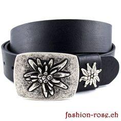 Trendiges Set Gürtelschnalle und Gurtschlaufe mit Edelweiss Edelweiss, Rind, Belt, Bracelets, Leather, Accessories, Jewelry, Silver Jewellery, Metal