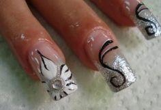 Wedding Nails, Bridal Nail Art Ideas - Bridal Nail Designs For Your Wedding Day. Invite glances on your bridal nails done by wedding nail art designers. French Manicure Nail Designs, Bridal Nails Designs, Bridal Nail Art, Flower Nail Designs, White Nail Designs, Flower Nail Art, Simple Nail Designs, Butterfly Nail, Acrylic Nail Art