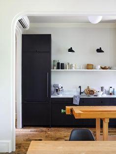 Small streamlined Brooklyn kitchen with black cabinets by architect Jess Thomas Black Kitchen Cabinets, Kitchen Cabinet Design, Home, Kitchen Cabinets, Kitchen Remodel, Cabinet Design, Brooklyn Kitchen, New Kitchen Cabinets, Kitchen Renovation
