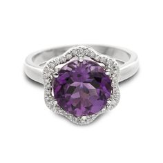14k White Gold Ring. Amethyst Gemstone Ring. Flower Shape. Engagement Ring with Diamonds. Art deco ring. Purple Stone. Special Gift For Her.