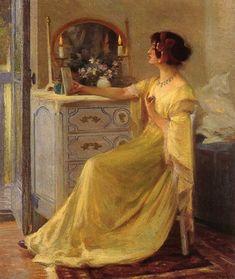 At the Mirror Pastel on paper,1889 - Robert Vonnoh (American, 1858-1933) Impressionism