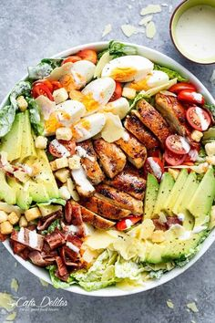 Grilled Chicken Cobb Caesar Salad is a meal in a . - eating clean - Dinner Recipes - Grilled Chicken Cobb Caesar Salad is a meal in a … – – eating clean – - Clean Dinner Recipes, Clean Dinners, Clean Eating Recipes, Healthy Eating, Eating Clean, Salad Recipes For Dinner, Picnic Potluck Recipes, Yummy Healthy Food, Healthy Chef