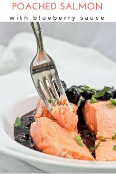 (ad) This easy + simple seafood recipe features salmon poached in white wine and spices. Serve with the quick blueberry sauce for a summer meal! via @champagneta0249