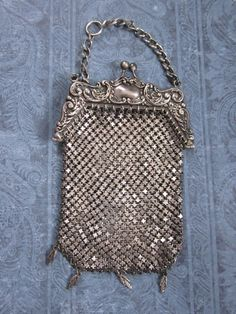 Art Nouveau 1910s Mesh Purse Antique Sterling Silver