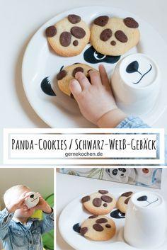 Schwarz-Weiß-Gebäck in Form von Panda-Gesichtern. Wir haben das gute Schwarz-Weiß-Gebäck in eine neue Form gebracht. Es schmeckt nicht nur Kindern.  #cookies #panda #weihnachtne #kekse #schwarz #weiß #black #white #christmas