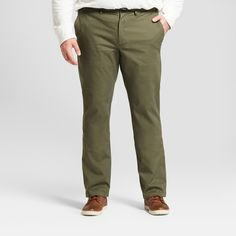 Men's Big & Tall Straight Fit Hennepin Chino Pants - Goodfellow & Co Olive (Green) 44X30